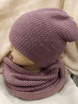 Dviguba šilta merino vilnos plytų spalvos kepurė