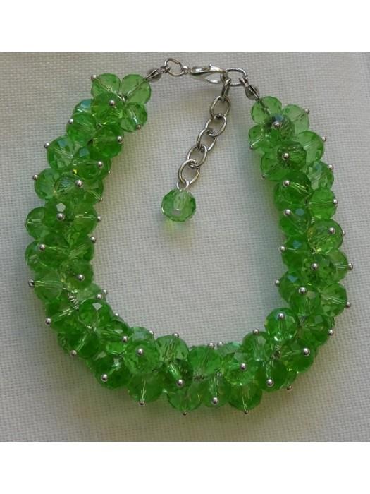 Žalio stiklo kristalų apyrankė