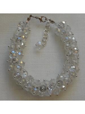 Skaidraus stiklo kristalų apyrankė