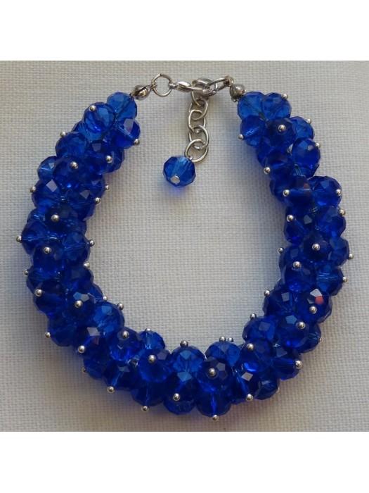 Mėlyno stiklo kristalų apyrankė