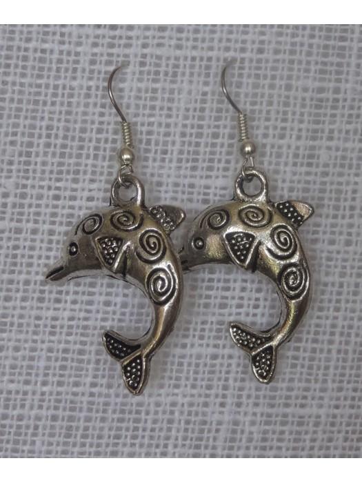 Delfinai(pakabukas - tibeto sidabras) auskarai