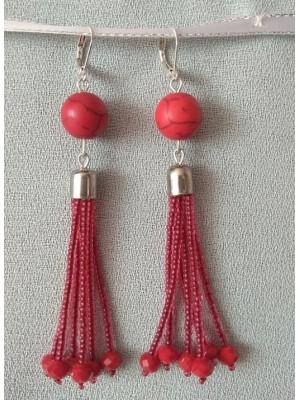 Ilgi auskarai su haulitu ir raudonais karoliukais