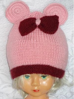 Kepurė Rožinė pelytė su bordiniu bantuku
