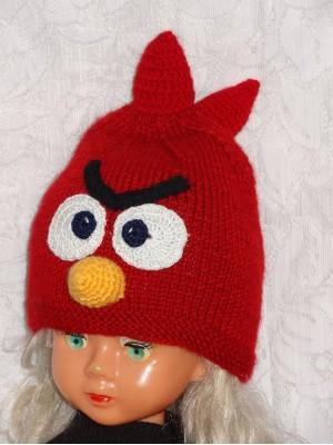 Kepurė vaikui: Raudonas paukštis