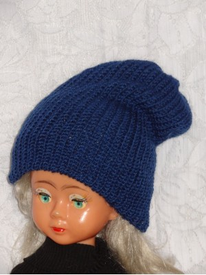 Ilga dviguba šilta mėlyna kepurė