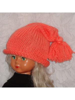 Ilga dviguba merino vilnos rožinė kepurė