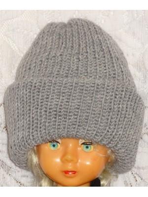 Ilga dviguba pilka šilta žieminė kepurė