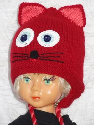Kepurė Raudonas kačiukas su rožinėm ausytėm