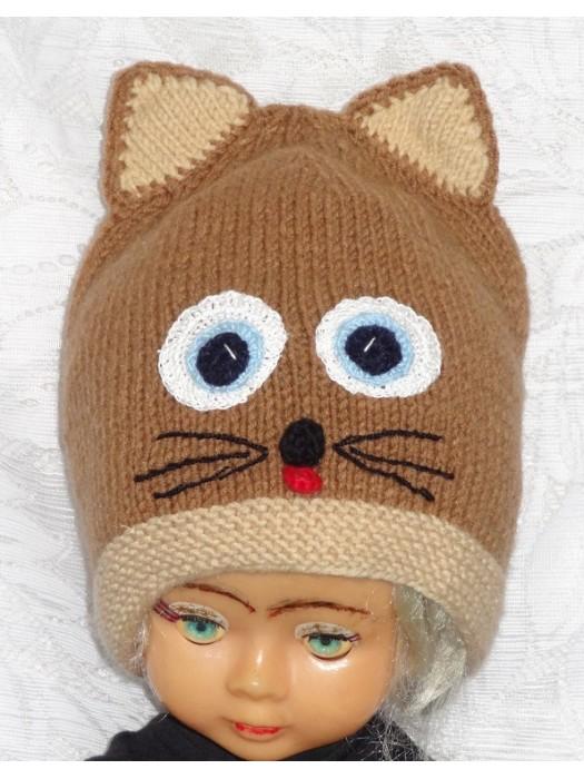Kepurė Tamsiai smėlinis rudas katinas