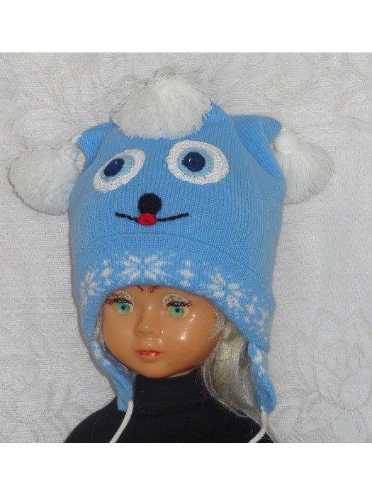 Mėlyna žydra žaisminga kepurė
