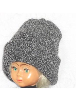 Dviguba šilta tamsiai pilko melanžo kepurė