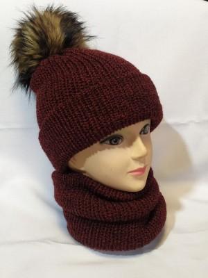 Bordo melandžo kepurė ir mova