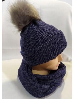 Dviguba šilta tamsiai mėlyno melanžo kepurė su bumbulu
