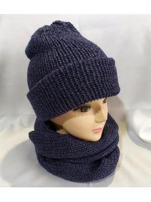 Dviguba šilta tamsiai mėlyno melanžo kepurė