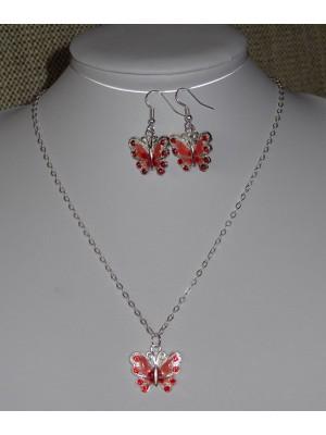 Papuošalų komplektas: auskarai ir pakabukas Raudoni drugeliai