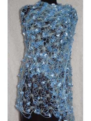 Melsvas, šviesiai mėlynas puošnus šalikas, skraistė