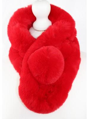 Dirbtinio kailio apykaklė šalikas, raudona