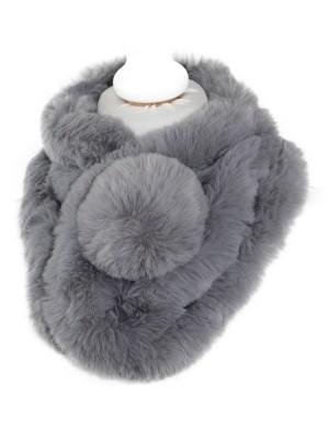 Dirbtinio kailio apykaklė šalikas, pilkas