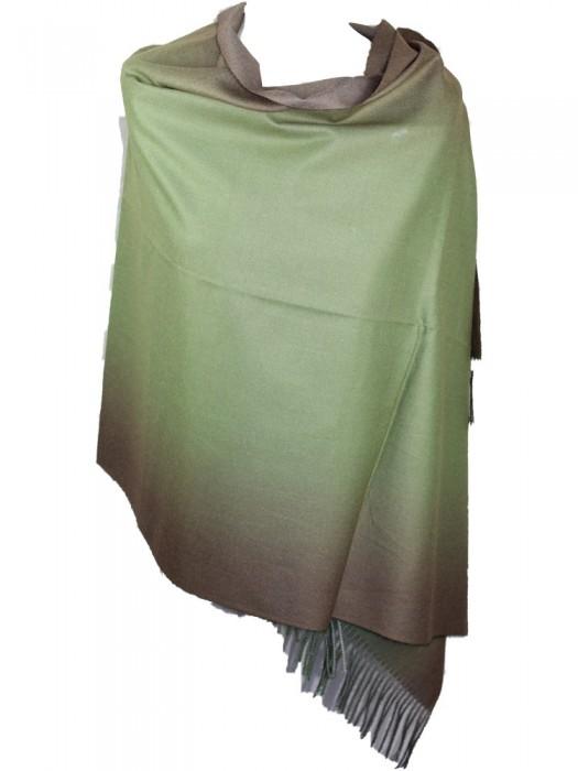 Pereinančios spalvos kašmyro šalikas, žalias