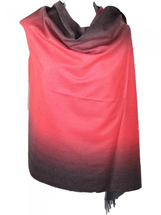 Pereinančios spalvos kašmyro šalikas, raudonas