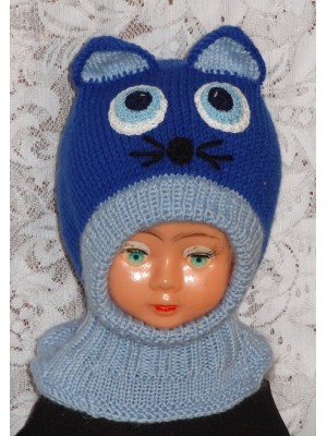 Kepurė šalmas: Mėlynas indigo katinas