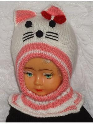 Kepurė šalmas mergaitei - Balta katytė