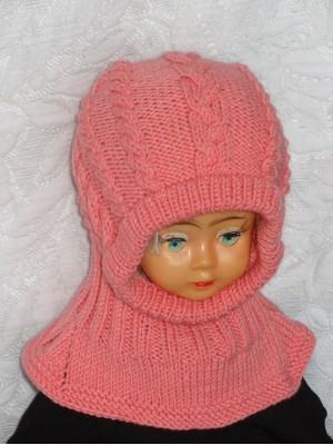 Kepurė šalmas: rožinė su pynėmis