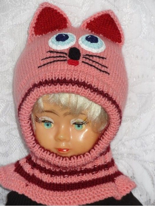 Kepurė šalmas mergaitei - Rožinė-bordo katytė