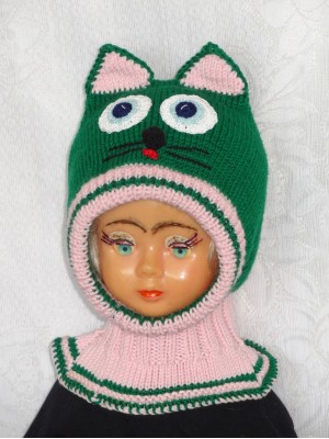 Merino vilnos kepurė šalmas Žalias katinas