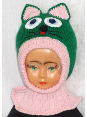 Merino vilnos kepurė šalmas Žalias katinas su ružavu