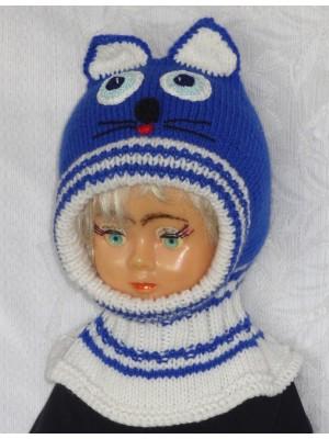 Ryškiai mėlynas su baltu katinas kepurė šalmas