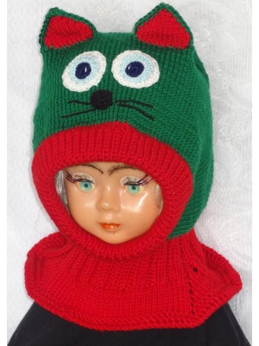 Merino vilnos kepurė šalmas Žaliai raudonas katinas
