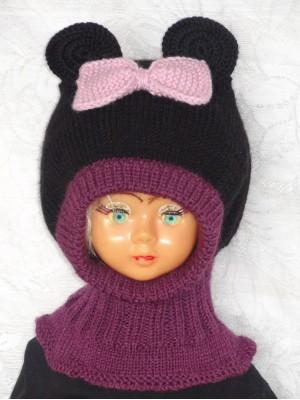 Violetinė juoda pelytė kepurė šalmas