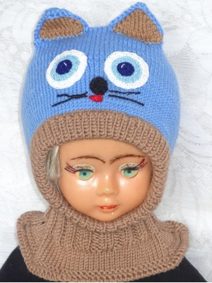 Merino vilnos kepurė šalmas Mėlynas katinas