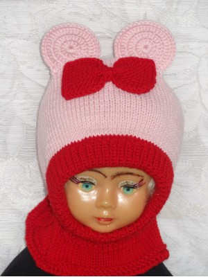 Merino vilnos kepurė šalmas Rožinė pelytė