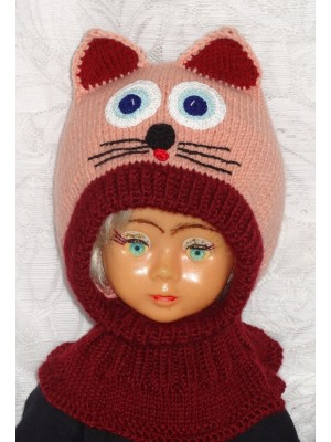 Bordo rožinė katytė kepurė šalmukas