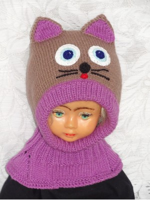 Violetinė ruda katytė kepurė šalmas