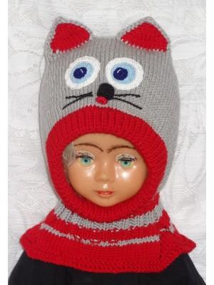 Merino vilnos kepurė šalmas Pilkas katinas su raudonu