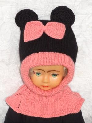 Rožinė juoda pelytė kepurė šalmas