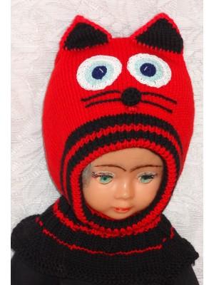 Merino vilnos kepurė šalmas Raudonas katinas