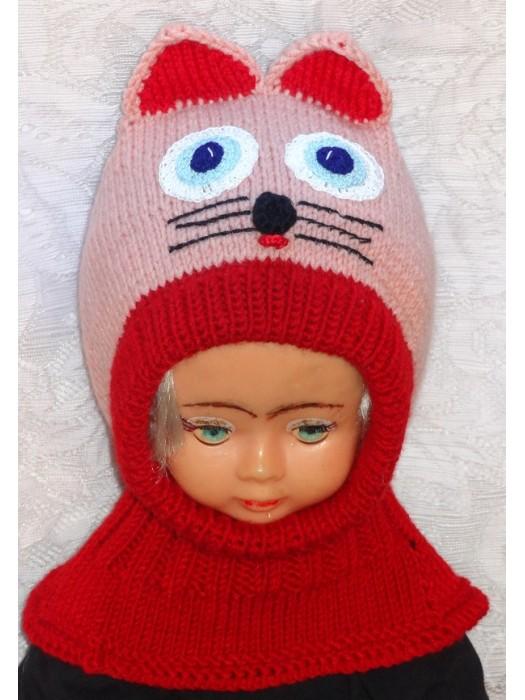 Persikinė raudona katytė kepurė šalmas mergaitei