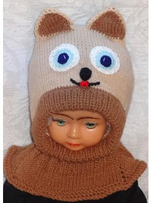Rudas katinas kepurė šalmas