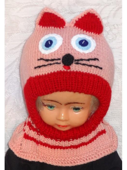Rožinė raudona katytė kepurė šalmas mergaitei