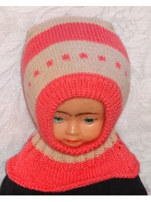 Raštuota rožinė ruda kepurė šalmas