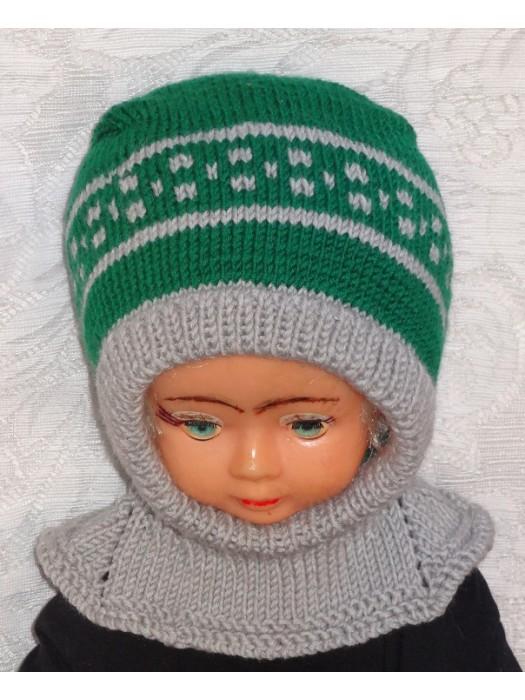 Merino vilnos kepurė šalmas Žalia pilka