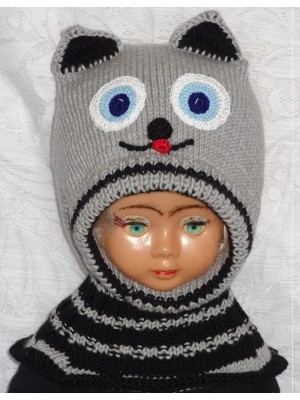 Merino vilnos kepurė šalmas Pilkas katinas