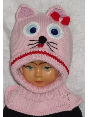Merino vilnos kepurė šalmas Rožinė katytė
