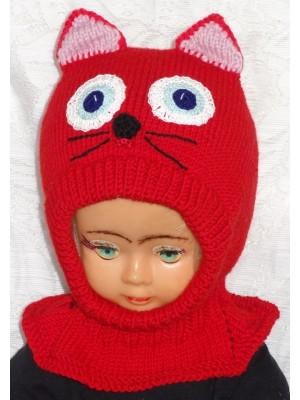 Merino vilnos kepurė šalmas Raudonas katinas su violetinėm ausytėm