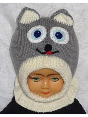 Merino vilnos kepurė šalmas Pilkai baltas katinas