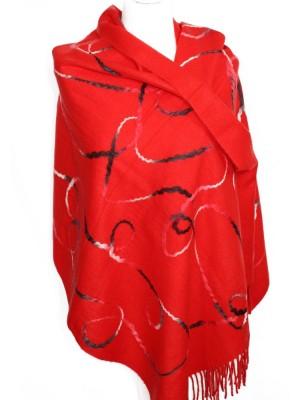 Raudonas šalikas su įveltais raštais